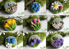 pendants by Zubiju Cute Polymer Clay, Cute Clay, Polymer Clay Flowers, Polymer Clay Beads, Diy Clay, Clay Art Projects, Polymer Clay Projects, Clay Magnets, Clay Miniatures