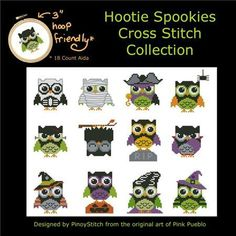 Hootie Spookies Mini Collection halloween owl cross stitch chart Pinoy Stitch $13.50  #owl