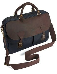 Smyths Barbour Wax Leather Briefcase in NAVY waxed cotton with leather trim is now on offer and has the elegant wax cotton & dark , durable leather outer w