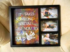 Kids' artwork goes in the big part. Pictures of them doing the art in the smaller parts!