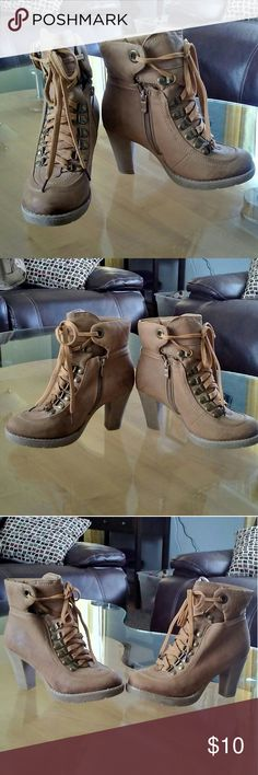 Charlotte Russe Tan Chunky Heel Boots 70's style Tan Chunky Heel Boots. Have some wear no tears. Been in storage a few months now but still in very good shape! Charlotte Russe Shoes Heeled Boots