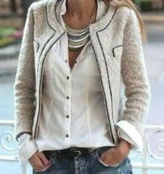a Chanel Jacket, a White Button-Down,  Jeans #CoolTones