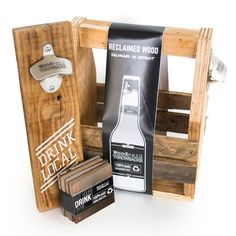 Drink Local Reclaimed Wood Bottle Opener by Woodward Throwbacks available at Withal now. Reclaimed Wood Bars, Creative Industries, Pallet Projects, Wood Pallets, Bottle Opener, Barware, Packaging, Handmade, Materialistic