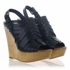 Ash shoes Oman wedge sandal black leather