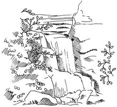 A waterfall is a sight not easily forgotten. This landscape is no different -- and you can draw it in only four steps. Learn how.