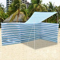 Description: Large 4pcs pole (3 sections) polyethylene windbreak Strong iron pole frame constructed With nylon rope & peg for extra stability<br