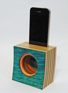 Iphone Speaker/Amplifier made from Reclaimed Skateboards