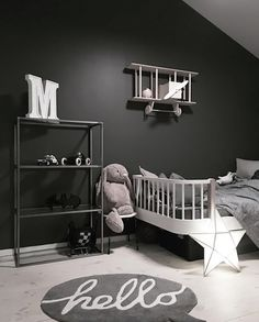 Love this dark kid's room by @made.by.me. Oliver Furniture junior bed available online.