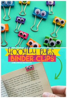 googly eyes binder clips More