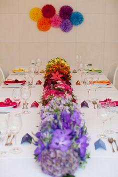 Beautiful rainbow flower centrepiece idea - floral recipe: rainbow wedding flowers | b.loved weddings | UK Wedding Blog | Wedding Design & Styling