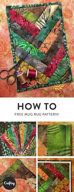 Batik Braided Mug Rug Quilting – FREE Pattern On Craftsy Do you have a charm pack that you need to use? Why not try making a fun little mug rug for a friend or yourself? Get the step-by-step tutorial at Craftsy. Quilting For Beginners, Quilting Tutorials, Quilting Designs, Quilting Ideas, Beginner Quilting, Patchwork Quilting, Modern Quilting, Quilting Fabric, Scraps Quilt