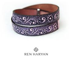 Leather Wrap Bracelet,Double Wrap Embossed Leather Bracelet,Leather Cuff Bracelets,Hand Embossed Floral Bracelets,Cuff,Leather Accessory
