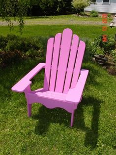 """we can all use a little """"beach"""" in our backyard. this pretty pink adirondack chair brightens things up and these chairs are also available in plastic. Just make sure you can get up out of them!"""