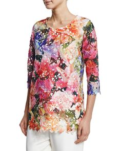 3/4-Sleeve Floral Lace Top, Multi/White - Caroline Rose