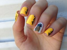 pineapple themed nail art