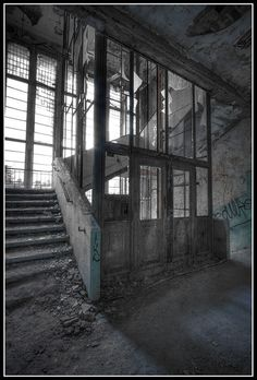 The old elevator shaft in the surgery building in Beelitz. Germany