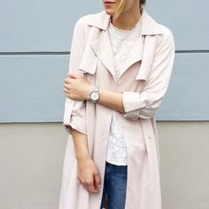tifmys- H&M trenchcoat and blouse & Rosefield watch.