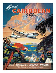 Pan American: Fly to the Caribbean by Clipper, c.1940s Giclee Print by M. Von Arenburg at Art.com