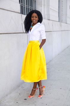 White Button-Up Shirt + Yellow Box Pleat Midi Skirt from StylePantry