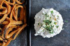 Garlic Butter Sweet Potato Fries with Creamy Feta Dip by @How Sweet Eats