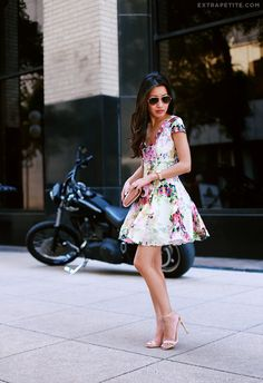 Soft pink   florals: ASOS petites fit and flare dress, heels. Summer women fashion outfit clothing style apparel @roressclothes closet ideas