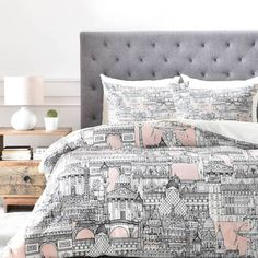 product image for DENY Designs Paris Toile Sugar Pink Duvet Cover