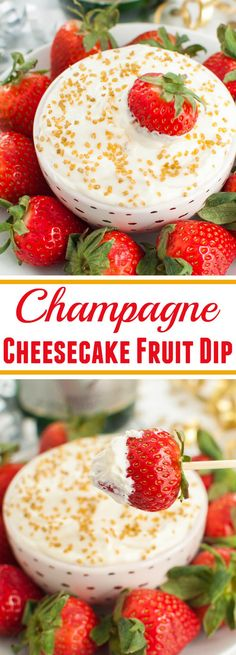 4 ingredient boozy dessert! Champagne cheesecake fruit dip is perfect with strawberries for Valentine's, New Years, or a bridal shower.
