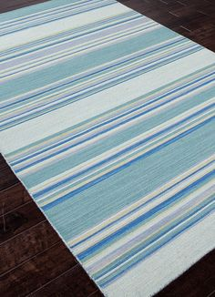 Kiawah Island Turquoise Blue Striped Rug - love the colors!