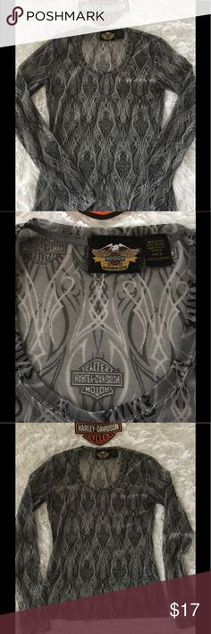 Gray Mesh Harley Davidson Top Very cool Top, under a leather vest or over a Black camisole, super stretchy 20% spandex. In like new condition, no flaws, size S. No pets/smoke closet Harley-Davidson Tops