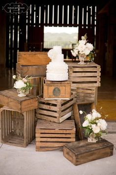 stacked crates outside the barn? With some of your old suitcases or books on top?