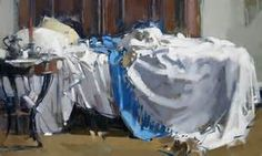 """""""Single Unmade Bed"""" - by Maggie Siner. ~Oil on linen Best Interior Design, Interior Paint, Aesthetic Objects, Art Aquarelle, Virtual Art, Still Life Art, Chiaroscuro, Room Paint, Figure Painting"""