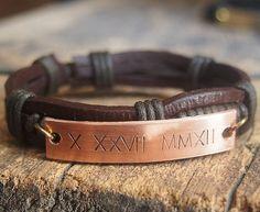 Personalized Men's Bracelet, Men's personalized bracelet, Customized Roman…