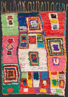 bs192, Moroccan boucherouite rag rug 180 x 140 cm / 6' x 4' 8''