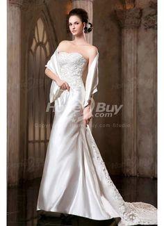 Embroidery Court Train Satin Corset Wedding Dress