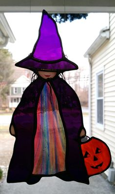 """Little Halloween """"Witch"""" Stained Glass Suncatcher"""