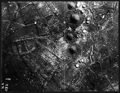 Aerial photograph, St Eloi, near Ypres, Belgium, 27 March 1916. This aerial photograph was taken on 27 March 1916 after the British had exploded six very large mines at the same time, to knock out the German defence before the Allies advanced. The new huge mine craters can be seen looking like four hills in a line up the centre of the photograph.