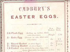 A price list for some of the first Cadbury Easter Eggs.