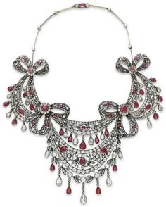 Antique diamond and ruby festoon necklace, circa 1860. Via Diamonds in the Library.
