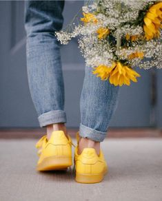 yellow, flowers, and adidas image