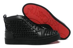 19f799e9ecc9 Christian Louboutin Sharp Nail Spiked Sneakers Black High Top Red Sole  Basket Louboutin Homme