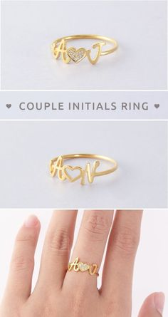 28 ideas birthday gifts for girlfriend je. 28 ideas birthday gifts for girlfriend jewelry friends for Bracelet Initial, Initial Jewelry, Initial Rings, Custom Jewelry, Gold Jewelry, Jewelry Rings, Jewellery Box, Jewellery Shops, Jewelry Ideas
