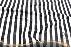 Striped Lamour Tablecloth - 1 Inch - White/Black