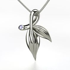 Beautiful!  Laurel Leaf Pendant, Sterling Silver Necklace with Tanzanite from Gemvara