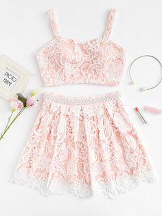 SheIn offers Flower Lace Overlay Crop Top & Beaded Skirt Set & more to fit your fashionable needs. Teen Fashion Outfits, Girl Fashion, Girl Outfits, Casual Outfits, Fashion Dresses, 2 Piece Outfits, Two Piece Outfit, Cute Outfits For Kids, Cute Summer Outfits