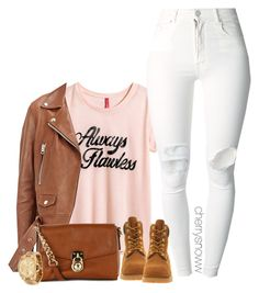 """Girly swag fall outfit"" by cherrysnoww ❤ liked on Polyvore featuring H&M, (+) PEOPLE, Timberland, Acne Studios, MICHAEL Michael Kors and Michael Kors"