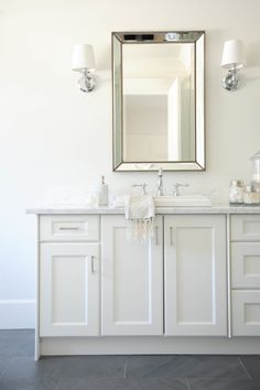 If it's cluttered, it will never be a spa like space. Don't know where to start with your bathroom decor? Check out this bathroom idea for inspiration. Beaded mirror above vanity. Bathroom Renos, White Bathroom, Small Bathroom, Master Bathroom, Bathroom Ideas, Bathroom Mirrors, Coral Bathroom, Bathroom Canvas, Mirror Vanity