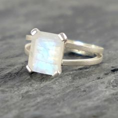 Moonstone Engagement Ring June Birthstone Rainbow Moonstone Sterling Silver Ring , Rainbow Moonstone Jewelry Emerald Cut Ring -MADE TO ORDER by EfratJewelry on Etsy https://www.etsy.com/listing/63208956/moonstone-engagement-ring-june