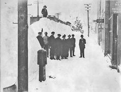 Image of Sumpter Oregon in the winter in the early 1900's, before 1917, which was when the downtown area burned down.
