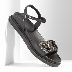 embellished flat sandals with rhinestones (under $50)