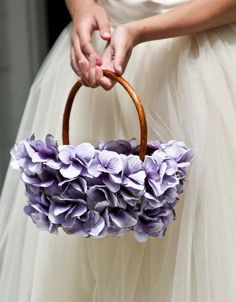 Flower Girl Basket Wicker with Hydrangea Petals